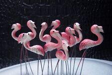 New listing 10 Miniature Flamingos Bird Animal Stakes For Fairy Garden Terrarium Decor Craft