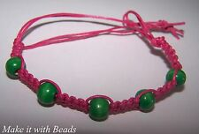 Pink Cord & Beads Friendship Bracelet Jewellery Making Kit + Instructions