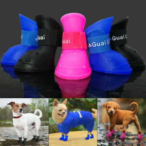 Pet Dog Puppy Rain Snow Boots Shoes Rubber Waterproof Anti-Slip Paw Protector