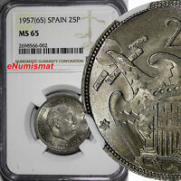 Spain Caudillo and Regent 1957 (65) 25 Pesetas NGC MS65 TOP GRADED BY NGC KM#787