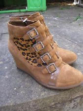 Animal Print Zip Suede Casual Boots for Women