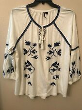 NWT New Directions Women's XL White Navy Blue Aztec Peasant Smocked Tie Top