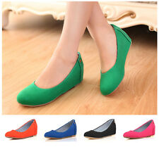 Womens Girls Sweet Candy Slip on Boots Pumps Suede Shoes MId Wedge Heel Plus SZ