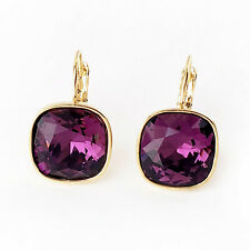 Amethyst Purple Gold Plated Drop Earrings w/ 12mm Cushion Cut Swarovski Crystal