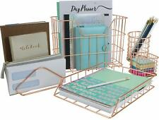 Rose Gold Desk Organizer Set, 5-Piece Set Aesthetic Office Accessories