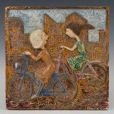 Westraven Utrecht Luigi Amati:large heavy reliëf tile, cycling kids,70's.