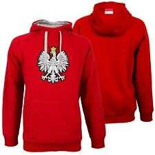 Men's Polish Polska Red Antigua Victory Hoodie Pullover Eagle Embroidered Flag