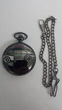 Volvo PV544 ref281 pewter effect emblem on polished black case mens pocket watch