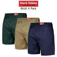 Mens Hard Yakka Drill Short 4PK Belt Loop Shorts Cotton Work Tough Trade Y05350