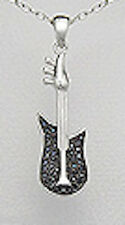 """2g Solid Sterling Silver 1.5"""" Electric Black CZ Guitar Pendant Rock Musician NEW"""