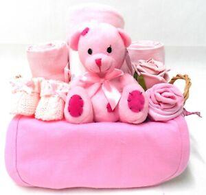 New Baby Gift Basket Baby Hamper Baby Shower Gift Basket Nappy Cake Girl Pink