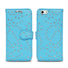 Magnetic Leather Flip Book Folio Case Cover for iPhone 5 5c 5s Screen Guard Glitter Blue I Phone 6