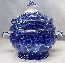 Old Antique HISTORICAL STAFFORDSHIRE Dark Blue SUGAR BOWL w/ LID Transferware