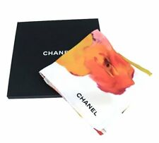CHANEL Scarf Stole Camellia Floral Flower White Multi Silk Woman New 68 x 26 in