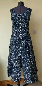 MONSOON VTG 80S 90S NAVY BLUE DITSY  FLORAL PRINT BUTTON FRONT MIDI DRESS 10 12