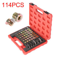 114pc Oil Pan Thread Repair Kit Sump Gearbox Drain Plug Tool Set M13 - M22