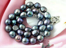 black 8-9mm Keshi Keishi Baroque Freshwater Pearl Necklace 18""