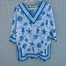 PALM HARBOR TOP SIZE  L PETITE SEASCAPE BLUE PRINT 3/4 SLEEVE 100% COTTON NWT