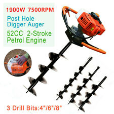 52cc 2 Stroke Gas Powered Post Hole Digger Plant Auger With 3 Drill Bits 4 6 8