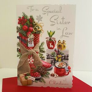 Jonny Javelin Special Sister In Law Christmas Card Wellies Hot Chocolate/XV029