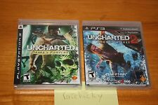 Uncharted 1 & 2 (Playstation 3 PS3) NEW SEALED BLACK LABEL SET, RARE!