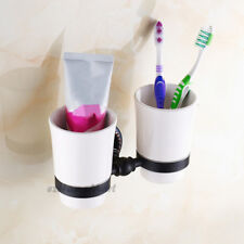 Wall Mounted Bathroom Ceramic Double Toothbrush Tumbler Holder Oil Rubbed Black