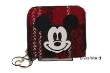 Mickey Mouse Coin Purse Red Tartan Girls Small Make-Up Bag Pouch Disney Primark