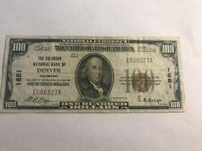 1929 $100 National Currency Serial #327 Denver, CO Colorado Bank Note