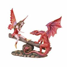 FAIRY PLAYING WITH RED DRAGON SEESAW Figurine Fairyland Legends Faerie Statue