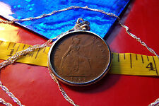 "1931 George V ENGLISH PENNY Coin Pendant 28"" Twisted Wavy .925 Silver Chain"