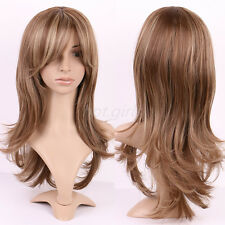Fashion Lady Long Wavy Full Wigs Brown Blonde Highlight Hair Real Soft as Remy z