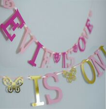 Personalised GIRLS 1st BIRTHDAY BANNER PINK Bunting CAKE SMASH Party 2nd 3rd 4th