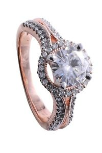 Forever Brilliant 1.28Ct Round Moissanite & Diamond  Rose Gold Engagement Ring
