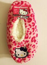 Hello Kitty Girls Slippers Socks Fuzzy Babba M/L (Shoe Size 13-4) Pink Cat