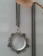 silver blk chain long adjus Magnifying Glass Statement Necklace pendant filigree
