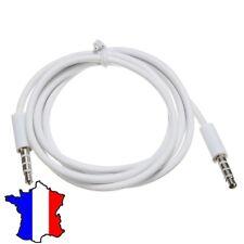 Câble Jack Male/Male Connecteur fiche 4 pôles pin 3 anneaux Audio Aux Auxiliaire