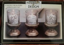 6 PC Candle Holders GOLD Wood Bases Glass W/Rhinestones LOVE BRINGS US HOME