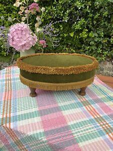 Vintage Foot Stool Foot Rest Mid Century Dumpy Small Oval Green Gold - Wood Legs