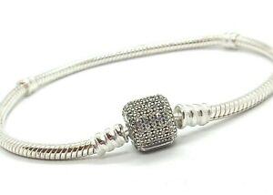 """Authentic Pandora Silver 925 ALE Bracelet, Barrell Clasp 7 3/4"""", CLEAR STONES"""