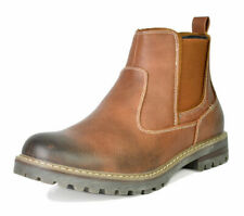 US Men's Work Boots Slip on Chelsea Shoes Lined Chelsea Plain-Toe Ankle Boots