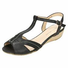 Ladies Anne Michelle T-bar Ankle Strap Low Wedge Sandals Black UK 8 Standard