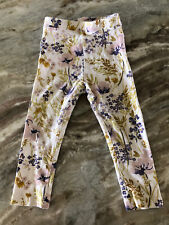 Old Navy Toddler Girls Leggings White Floral Cotton Blend Size 2T