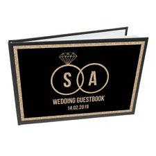 Personalised Black & Gold Rings Wedding Guest Book