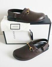 75b257b2c GUCCI Brown Leather HORSEBIT Brass Platform Sandals Slipper Mules Shoes 11  US12