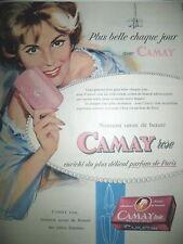 PUBLICITE DE PRESSE CAMAY ROSE SAVON DE BEAUTé ILLUSTRATION WIRTS FRENCH AD 1952