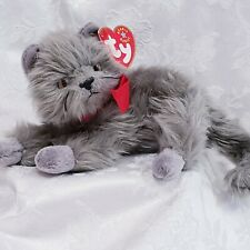 Ty Beanie Baby (Beani)Kitten /Cat w/ Grey Plush / Yellow Eyes ~ Long Hair