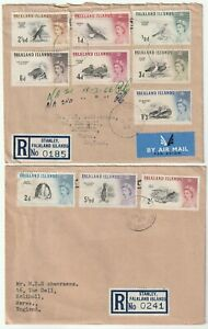 1965/6 2 AIRMAIL COVERS FALKLAND ISLANDS REGISTERED TO UK 10 BIRDS STAMPS TO 2/-