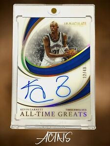 2018 Panini Immaculate Collection ALL-TIME GREATS KEVIN GARNETT AUTO BLUE 12/49
