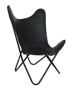 Leather Butterfly Chair Vintage Retro Metal Industrial Home Decor Black