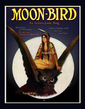 1909 Native American MOON BIRD Owl 8x10 vintage sheet music Indian Art print